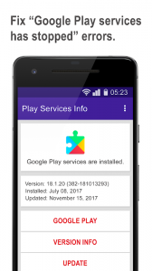 Play services update & info