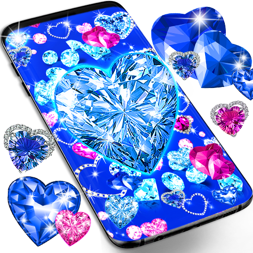 Blue hearts crystal diamonds live wallpaper
