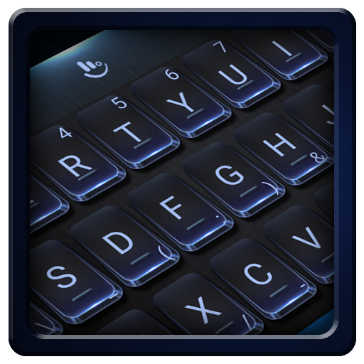 Black Blue Metal Keyboard Theme