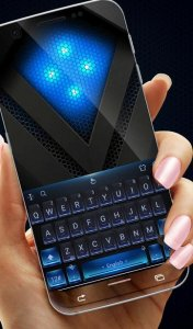 Black Blue Metal Keyboard Theme