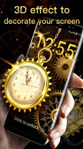3D Golden Analog Clock lock screen