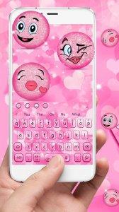 3D Cute Pink Блеск Emoji клавиатуры Theme