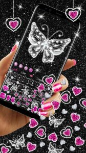 Glitter Butterfly Gravity Keyboard