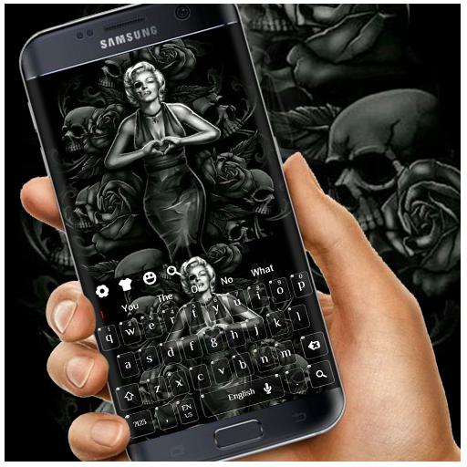 Black Rose Skeleton Lady Keyboard