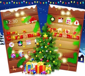 Wooden Merry Christmas theme