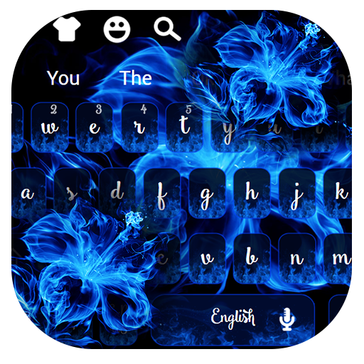 Blue Ice Fire Flower Keyboard