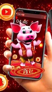 3D Pig Launcher Theme