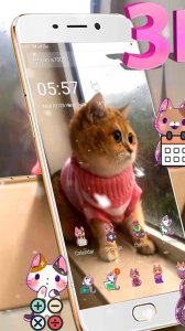 3D Cute Cat Live Launcher Theme