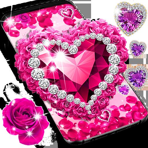 Diamond rose glitter live wallpaper