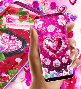 Diamond rose glitter live wallpaper